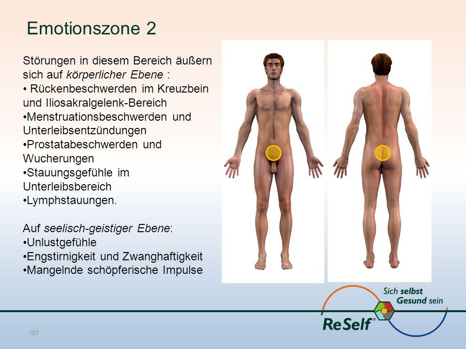 Emotionszone 2 Störungen in diesem Bereich äußern sich auf körperlicher Ebene : Rückenbeschwerden im Kreuzbein und Iliosakralgelenk-Bereich Menstruationsbeschwerden und Unterleibsentzündungen Prostatabeschwerden und Wucherungen Stauungsgefühle im Unterleibsbereich Lymphstauungen.