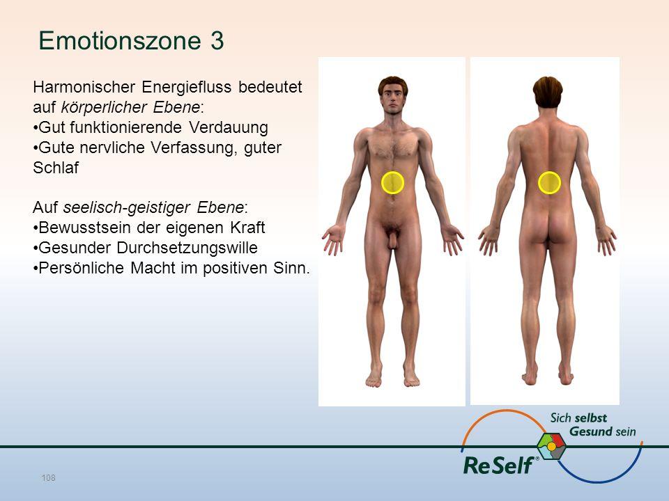 Emotionszone 3 Harmonischer Energiefluss bedeutet auf körperlicher Ebene: Gut funktionierende Verdauung Gute nervliche Verfassung, guter Schlaf Auf se