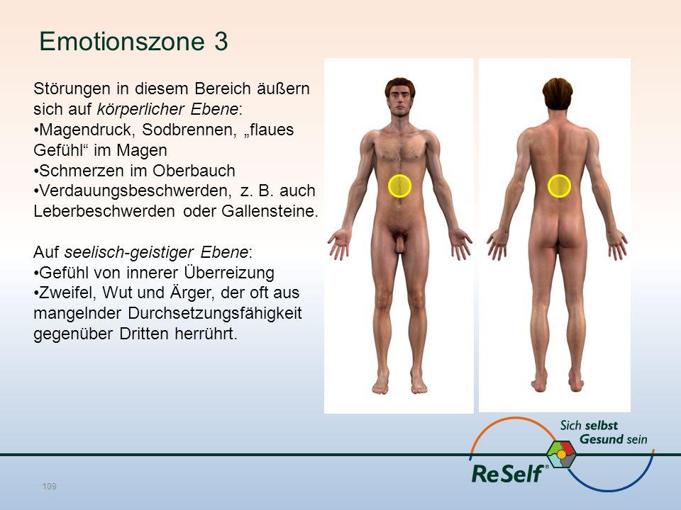 """Emotionszone 3 Störungen in diesem Bereich äußern sich auf körperlicher Ebene: Magendruck, Sodbrennen, """"flaues Gefühl im Magen Schmerzen im Oberbauch Verdauungsbeschwerden, z."""