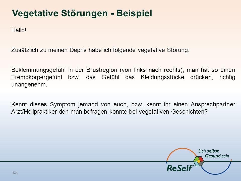 Vegetative Störungen - Beispiel Hallo! Zusätzlich zu meinen Depris habe ich folgende vegetative Störung: Beklemmungsgefühl in der Brustregion (von lin