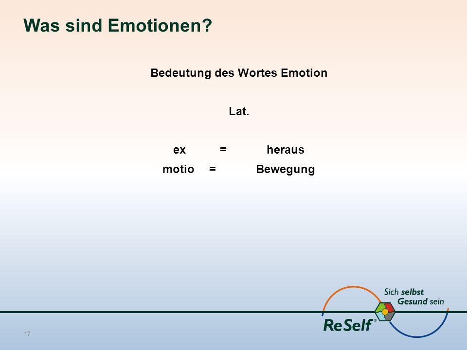 Was sind Emotionen? Bedeutung des Wortes Emotion Lat. ex = heraus motio = Bewegung 17
