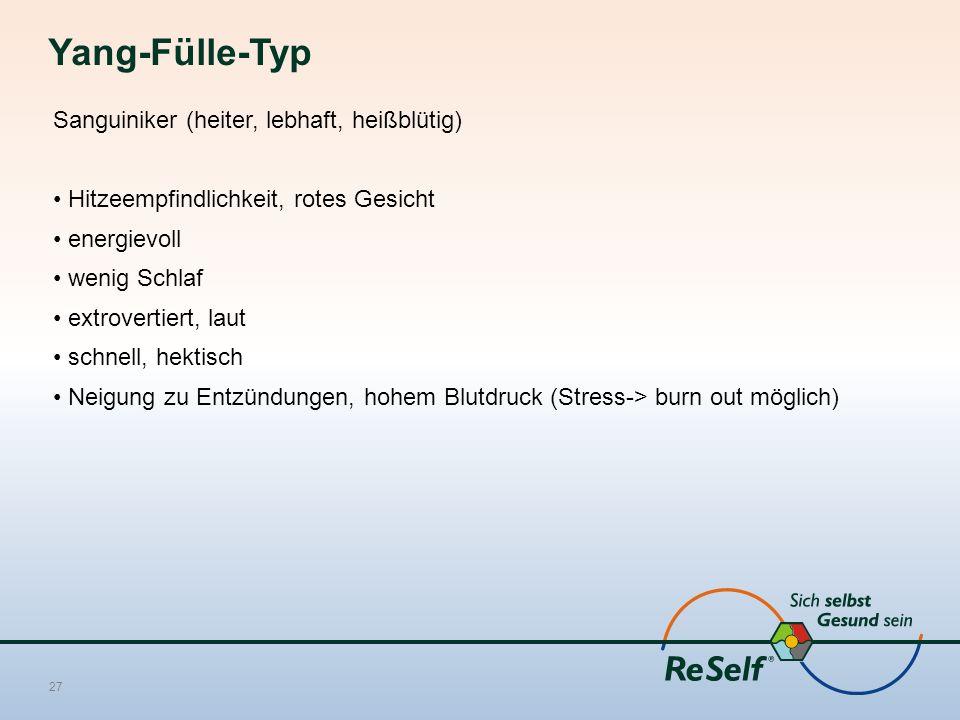 Yang-Fülle-Typ Sanguiniker (heiter, lebhaft, heißblütig) Hitzeempfindlichkeit, rotes Gesicht energievoll wenig Schlaf extrovertiert, laut schnell, hektisch Neigung zu Entzündungen, hohem Blutdruck (Stress-> burn out möglich) 27