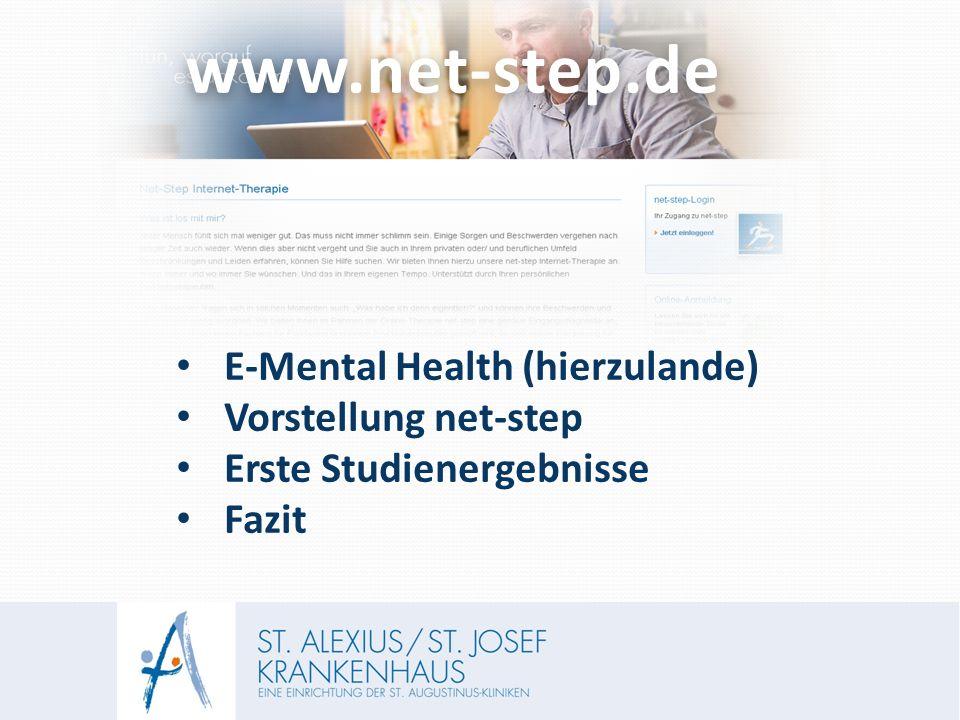 www.net-step.dewww.net-step.de E-Mental Health (hierzulande) Vorstellung net-step Erste Studienergebnisse Fazit