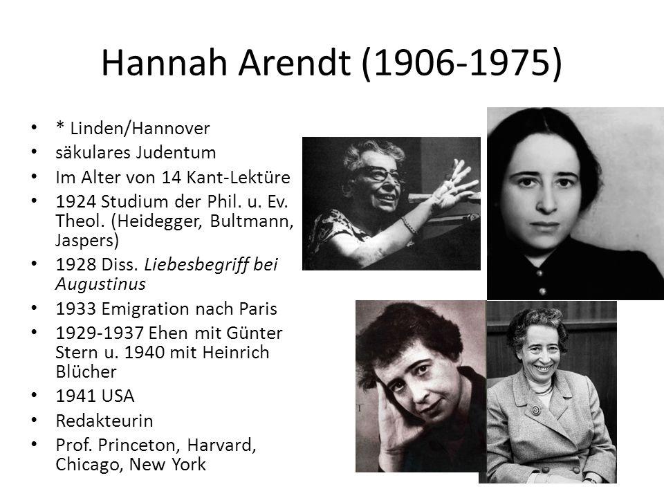 Hannah Arendt (1906-1975) * Linden/Hannover säkulares Judentum Im Alter von 14 Kant-Lektüre 1924 Studium der Phil.