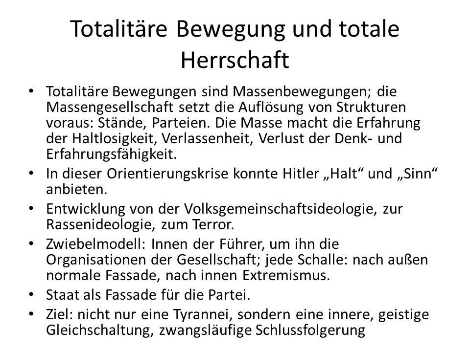 Totalitäre Bewegung und totale Herrschaft Totalitäre Bewegungen sind Massenbewegungen; die Massengesellschaft setzt die Auflösung von Strukturen voraus: Stände, Parteien.