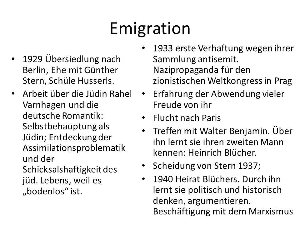 Emigration 1929 Übersiedlung nach Berlin, Ehe mit Günther Stern, Schüle Husserls.