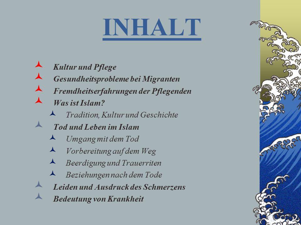 INHALT Kultur und Pflege Gesundheitsprobleme bei Migranten Fremdheitserfahrungen der Pflegenden Was ist Islam.
