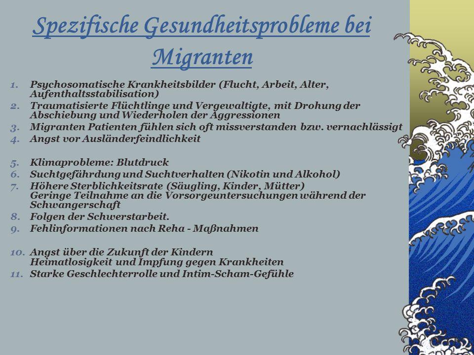 Spezifische Gesundheitsprobleme bei Migranten 1.Psychosomatische Krankheitsbilder (Flucht, Arbeit, Alter, Aufenthaltsstabilisation) 2.Traumatisierte Flüchtlinge und Vergewaltigte, mit Drohung der Abschiebung und Wiederholen der Aggressionen 3.Migranten Patienten fühlen sich oft missverstanden bzw.