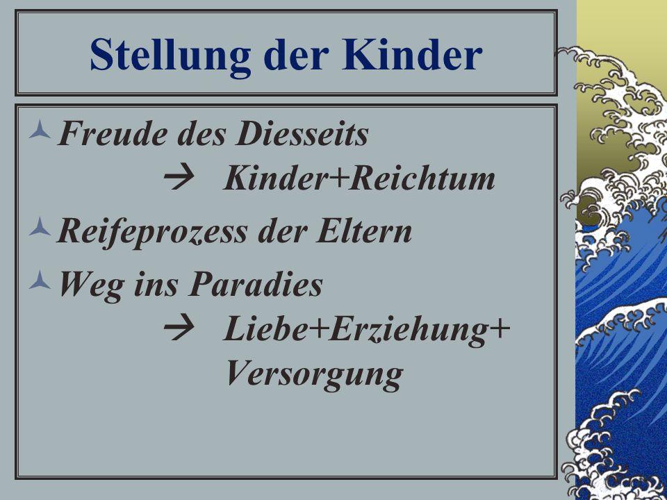 Stellung der Kinder Freude des Diesseits  Kinder+Reichtum Reifeprozess der Eltern Weg ins Paradies  Liebe+Erziehung+ Versorgung