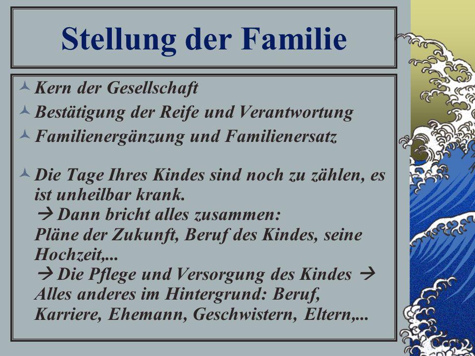 Stellung der Familie Kern der Gesellschaft Bestätigung der Reife und Verantwortung Familienergänzung und Familienersatz Die Tage Ihres Kindes sind noch zu zählen, es ist unheilbar krank.