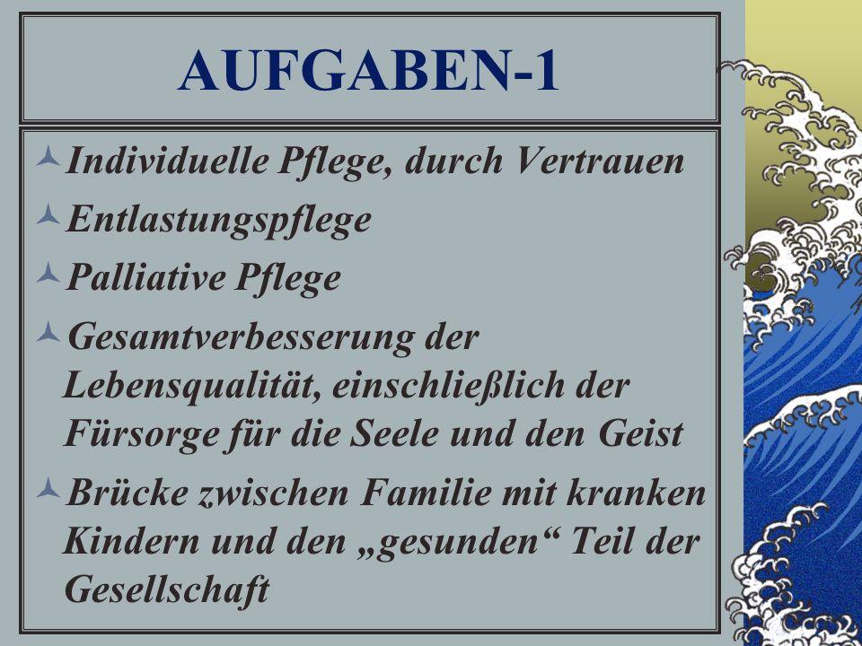 """AUFGABEN-1 Individuelle Pflege, durch Vertrauen Entlastungspflege Palliative Pflege Gesamtverbesserung der Lebensqualität, einschließlich der Fürsorge für die Seele und den Geist Brücke zwischen Familie mit kranken Kindern und den """"gesunden Teil der Gesellschaft"""
