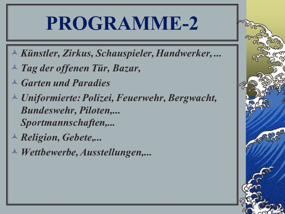 PROGRAMME-2 Künstler, Zirkus, Schauspieler, Handwerker,...