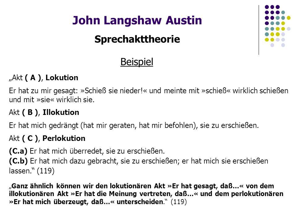 """John Langshaw Austin Sprechakttheorie Beispiel """"Akt ( A ), Lokution Er hat zu mir gesagt: »Schieß sie nieder!« und meinte mit »schieß« wirklich schießen und mit »sie« wirklich sie."""