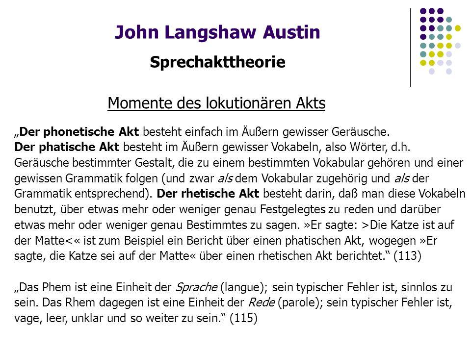 """John Langshaw Austin Sprechakttheorie Illokutionärer Akt """"Einen lokutionären Akt vollziehen heißt im allgemeinen auch und eo ipso einen illokutionären [illocutionary] Akt vollziehen, wie ich ihn nennen möchte."""