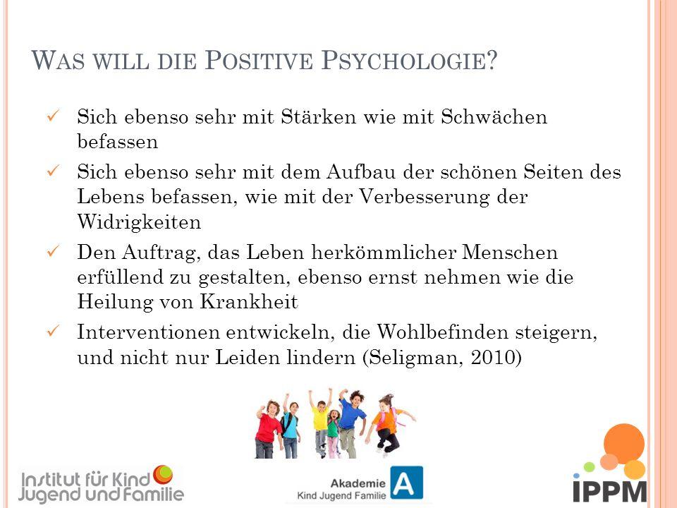 """D IE A UTHENIC H APPINESS T HEORIE DER P OSITIVEN P SYCHOLOGIE Dimensionen von """"Glück/Wohlbefinden Positive Emotionen (Das angenehme Leben) Positiven Charakter (Das engagierte Leben) Positive Institutionen(Das sinnerfüllte Leben) Ziel: Zunehmende Lebenszufriedenheit Glück ist messbar und erlernbar Seligman 2002, 2009 G = V + L + W (Glück ist ein Resultat aus Veranlagung, Lebensumständen und Willen)"""