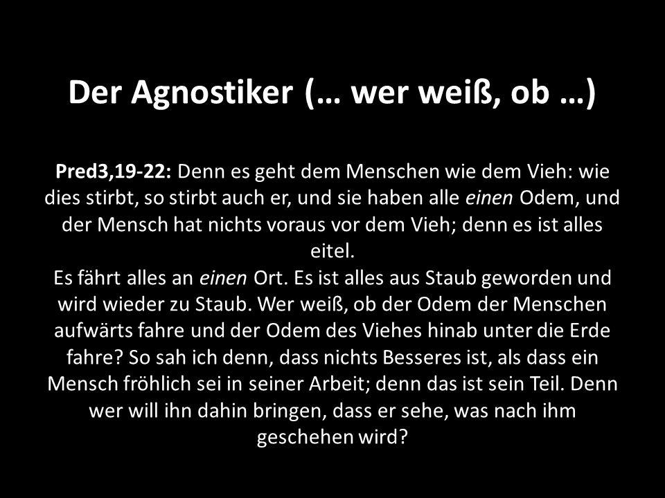 Der Agnostiker (… wer weiß, ob …) Pred3,19-22: Denn es geht dem Menschen wie dem Vieh: wie dies stirbt, so stirbt auch er, und sie haben alle einen Odem, und der Mensch hat nichts voraus vor dem Vieh; denn es ist alles eitel.