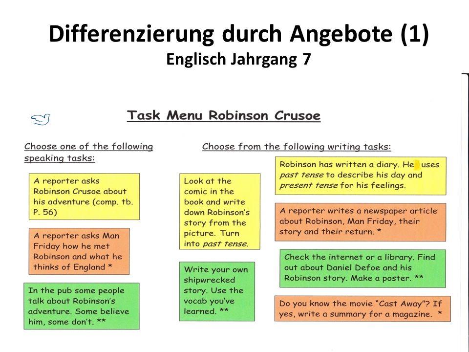 Differenzierung durch Angebote (1) Englisch Jahrgang 7