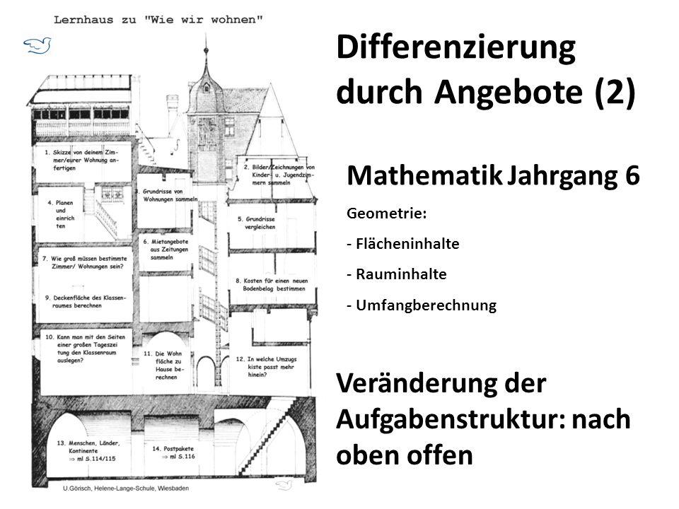 Differenzierung durch Angebote (2) Mathematik Jahrgang 6 Geometrie: - Flächeninhalte - Rauminhalte - Umfangberechnung Veränderung der Aufgabenstruktur