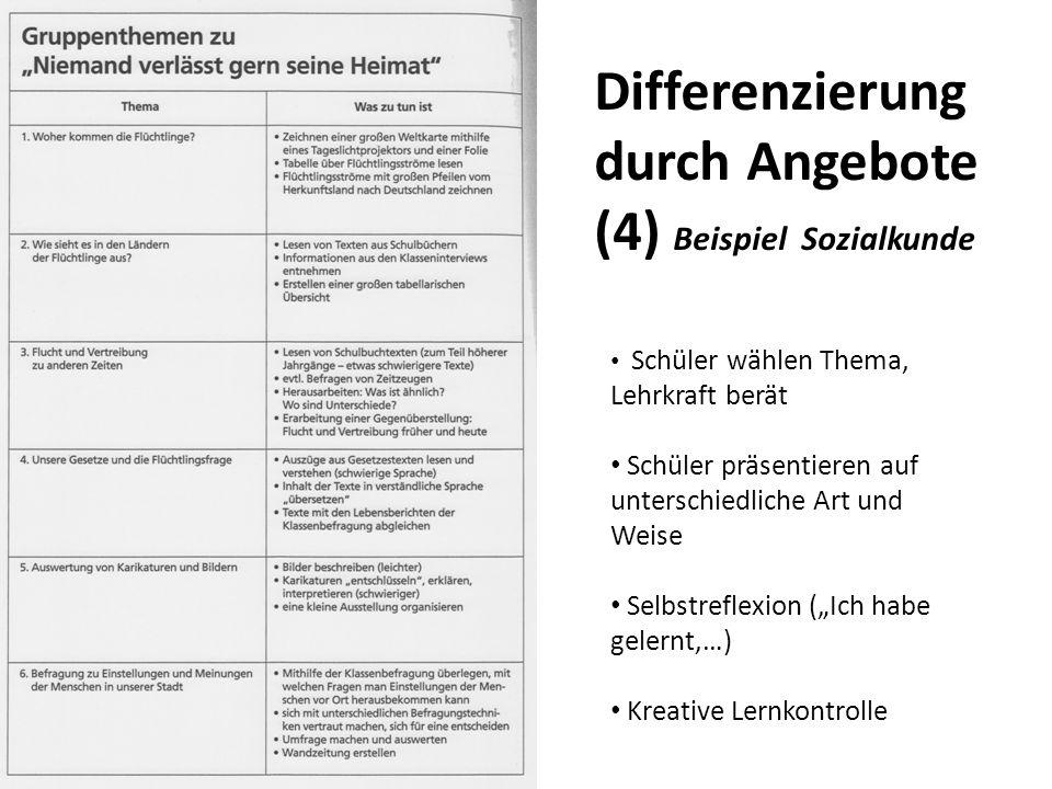 Differenzierung durch Angebote (4) Beispiel Sozialkunde Schüler wählen Thema, Lehrkraft berät Schüler präsentieren auf unterschiedliche Art und Weise