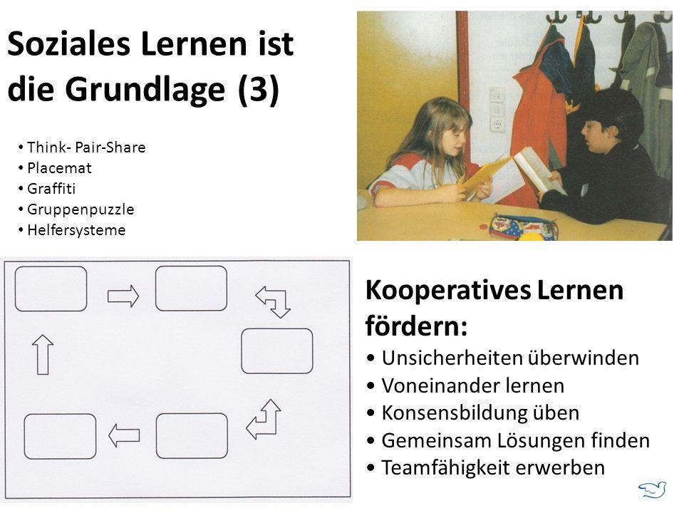 Soziales Lernen ist die Grundlage (3) Kooperatives Lernen fördern: Unsicherheiten überwinden Voneinander lernen Konsensbildung üben Gemeinsam Lösungen