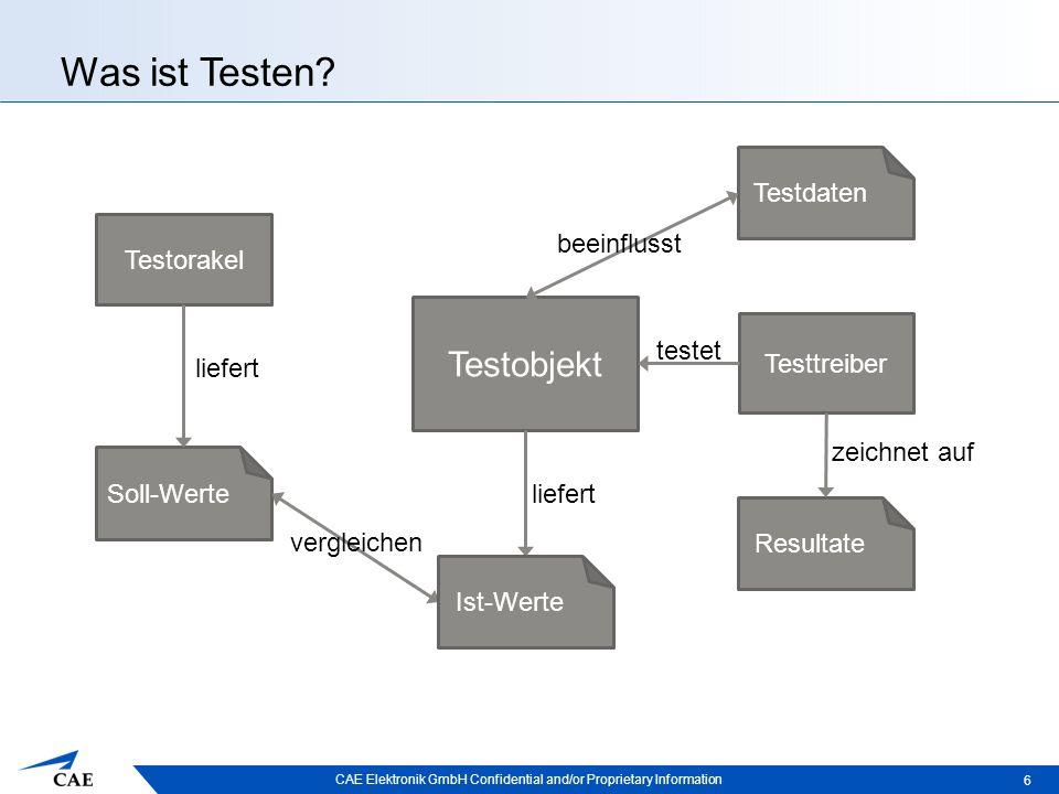 CAE Elektronik GmbH Confidential and/or Proprietary Information Testverfahren  Regressionstest: –Tests, die sich zu jeder Zeit wiederholen lassen –Überprüfung, ob eine Änderung andere Komponenten beeinflusst 17
