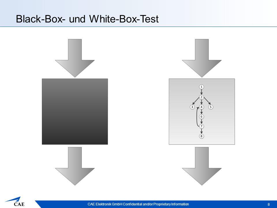 CAE Elektronik GmbH Confidential and/or Proprietary Information Testsysteme der Firma CAE  Auf Lua basierende Tests  Auf CTS basierende Tests –White-Box-Test, Komponententest –Testen mit CTS –Zugriff auf Shared Memory –Synchron zur Simulation  Tests mit Random-Werten  Kommerzielle GUI-Tests 29