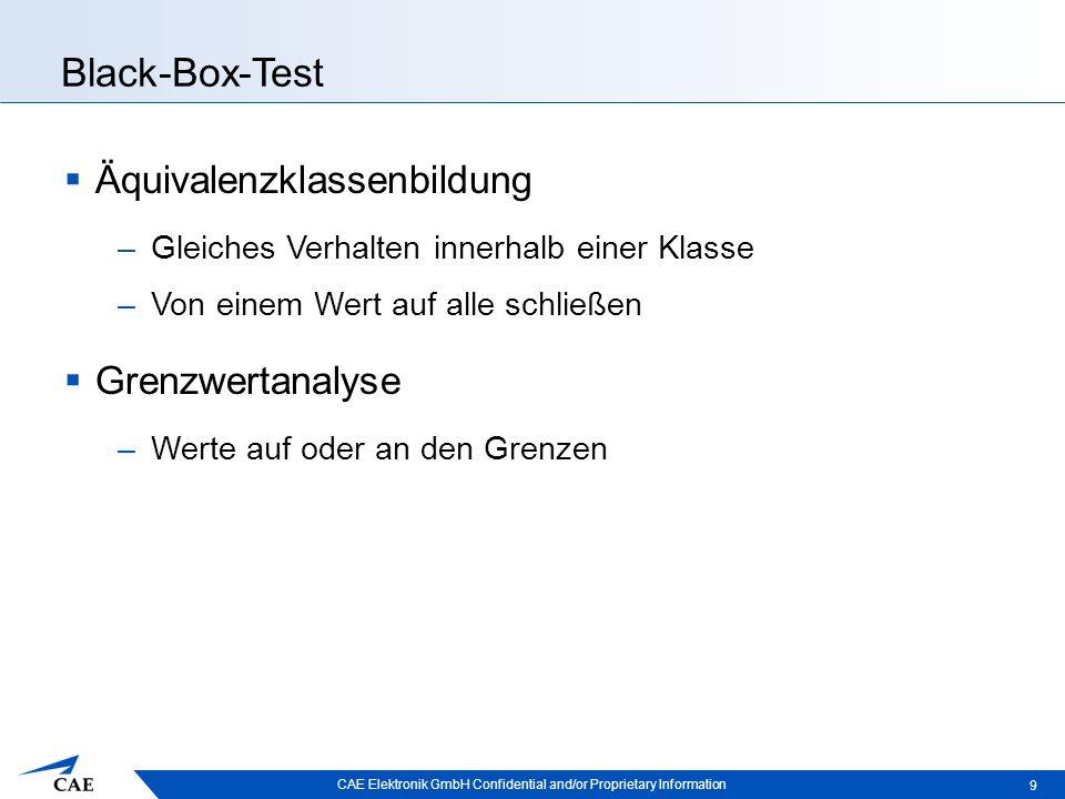 CAE Elektronik GmbH Confidential and/or Proprietary Information Black-Box- und White-Box-Test 10