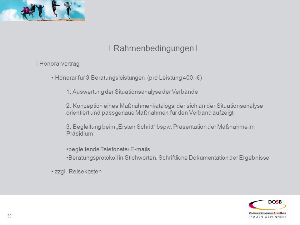 30 I Rahmenbedingungen I I Honorarvertrag Honorar für 3 Beratungsleistungen (pro Leistung 400,-€) 1.