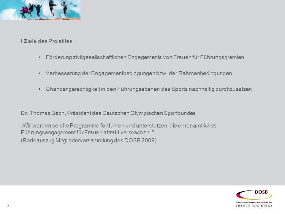 5 I Ziele des Projektes Förderung zivilgesellschaftlichen Engagements von Frauen für Führungsgremien Verbesserung der Engagementbedingungen bzw.