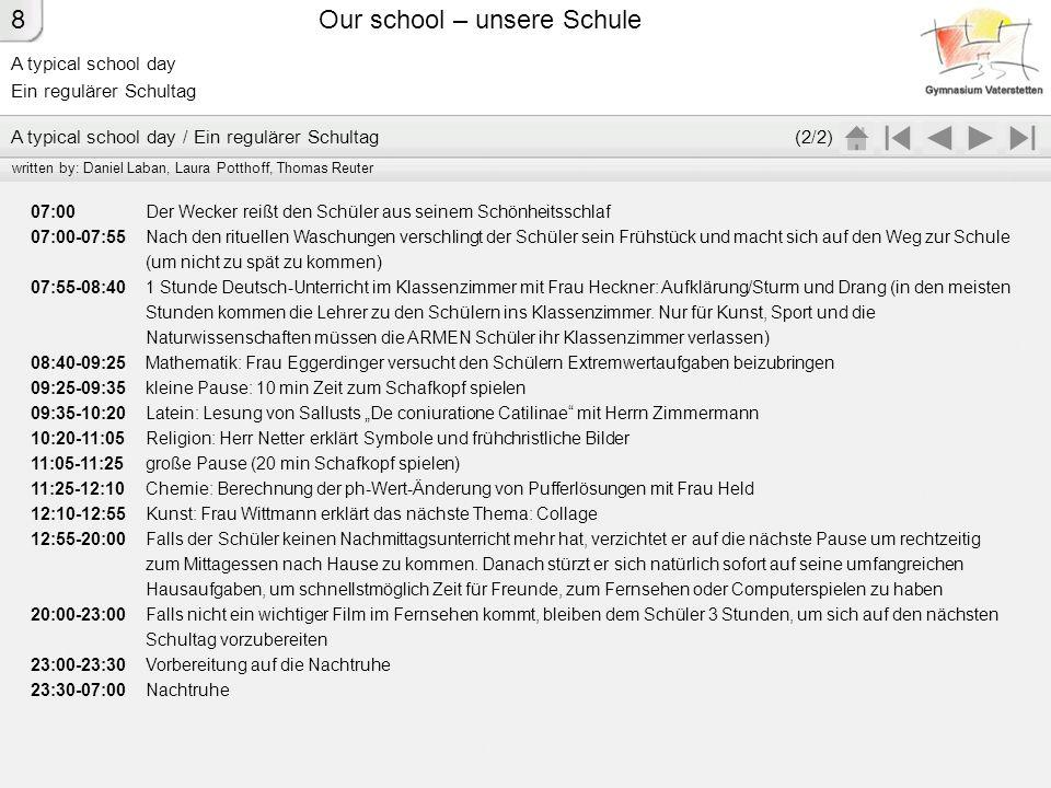 A typical school day Ein regulärer Schultag Our school – unsere Schule 07:00 Der Wecker reißt den Schüler aus seinem Schönheitsschlaf 07:00-07:55 Nach