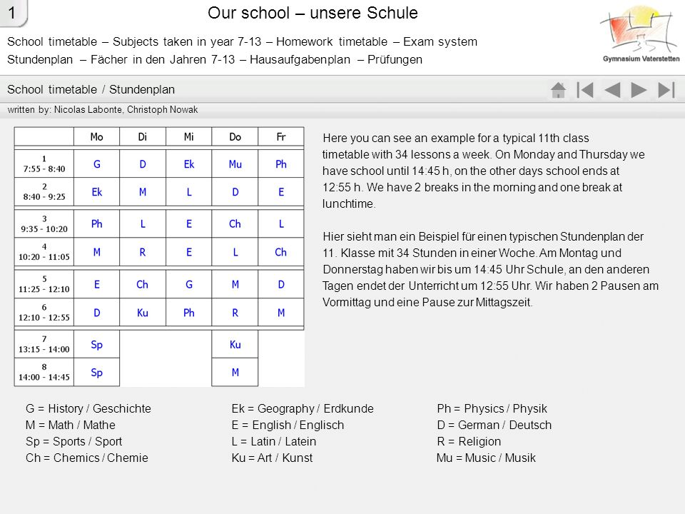 Our school – unsere Schule 5.