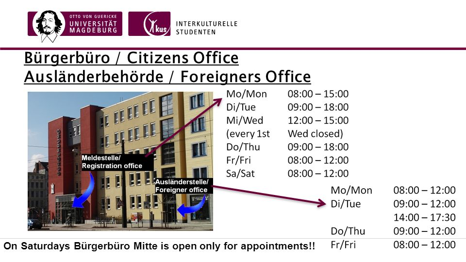 Bürgerbüro / Citizens Office Ausländerbehörde / Foreigners Office On Saturdays Bürgerbüro Mitte is open only for appointments!!