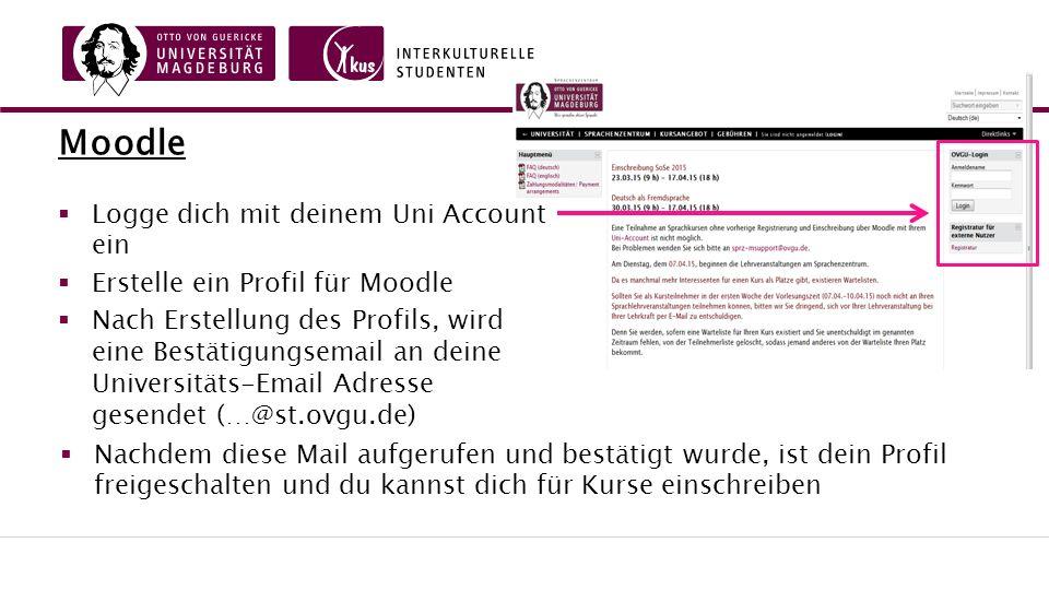 Moodle  Logge dich mit deinem Uni Account ein  Erstelle ein Profil für Moodle  Nach Erstellung des Profils, wird eine Bestätigungsemail an deine Universitäts-Email Adresse gesendet (…@st.ovgu.de)  Nachdem diese Mail aufgerufen und bestätigt wurde, ist dein Profil freigeschalten und du kannst dich für Kurse einschreiben