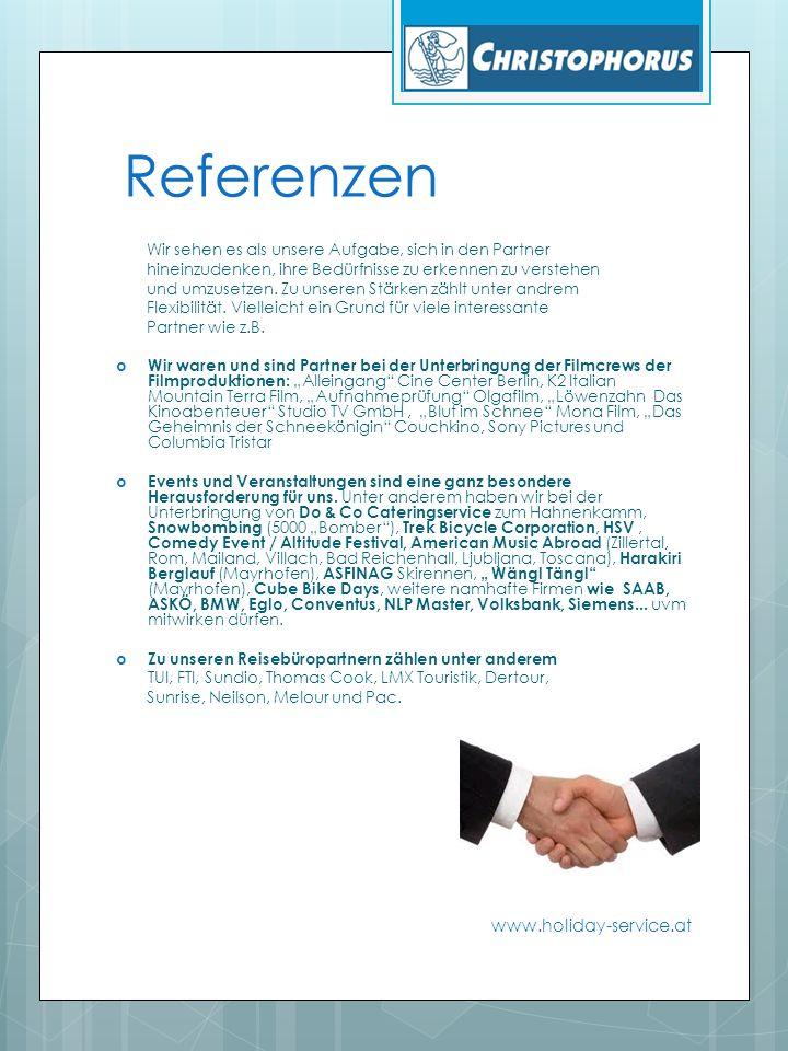 Umsätze www.holiday-service.at Christophorus beschäftigt saisonbedingt ca.