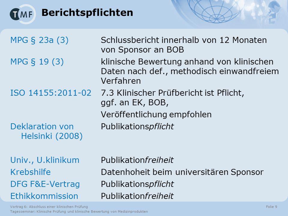 Vortrag 6: Abschluss einer klinischen Prüfung Tagesseminar: Klinische Prüfung und klinische Bewertung von Medizinprodukten Folie 30 Literaturübersicht nach … für  MEDDEV 2.7.1(R3) & GHTF SG5/N2R8Benannte Stelle  PRISMA, Cochrane-HandbuchPublikation  DIN EN ISO 14155-1 Anhang Anächsten Prüfplan  IQWiG-MethodenHTA, G-BA