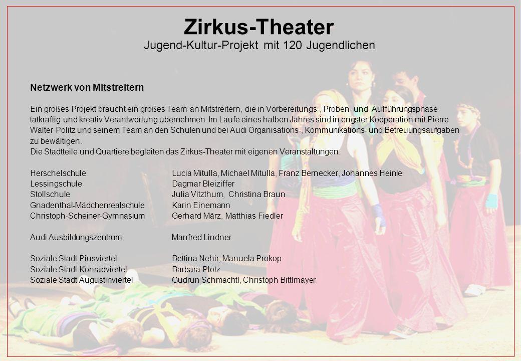 Zirkus-Theater Jugend-Kultur-Projekt mit 120 Jugendlichen Netzwerk von Mitstreitern Ein großes Projekt braucht ein großes Team an Mitstreitern, die in Vorbereitungs-, Proben- und Aufführungsphase tatkräftig und kreativ Verantwortung übernehmen.