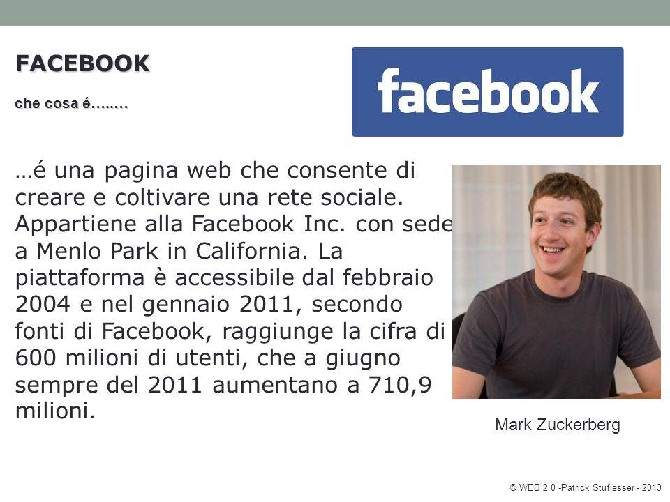 FACEBOOK che cosa é…..… …é una pagina web che consente di creare e coltivare una rete sociale.