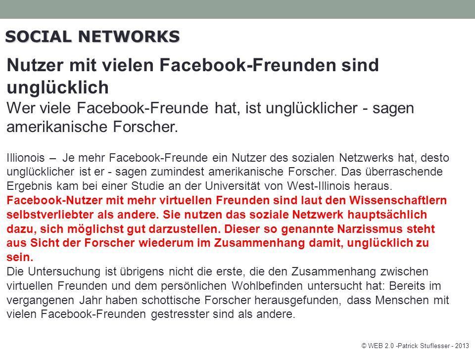 SOCIAL NETWORKS Nutzer mit vielen Facebook-Freunden sind unglücklich Wer viele Facebook-Freunde hat, ist unglücklicher - sagen amerikanische Forscher.