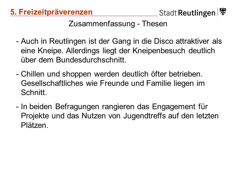 Zusammenfassung - Thesen -Auch in Reutlingen ist der Gang in die Disco attraktiver als eine Kneipe. Allerdings liegt der Kneipenbesuch deutlich über d