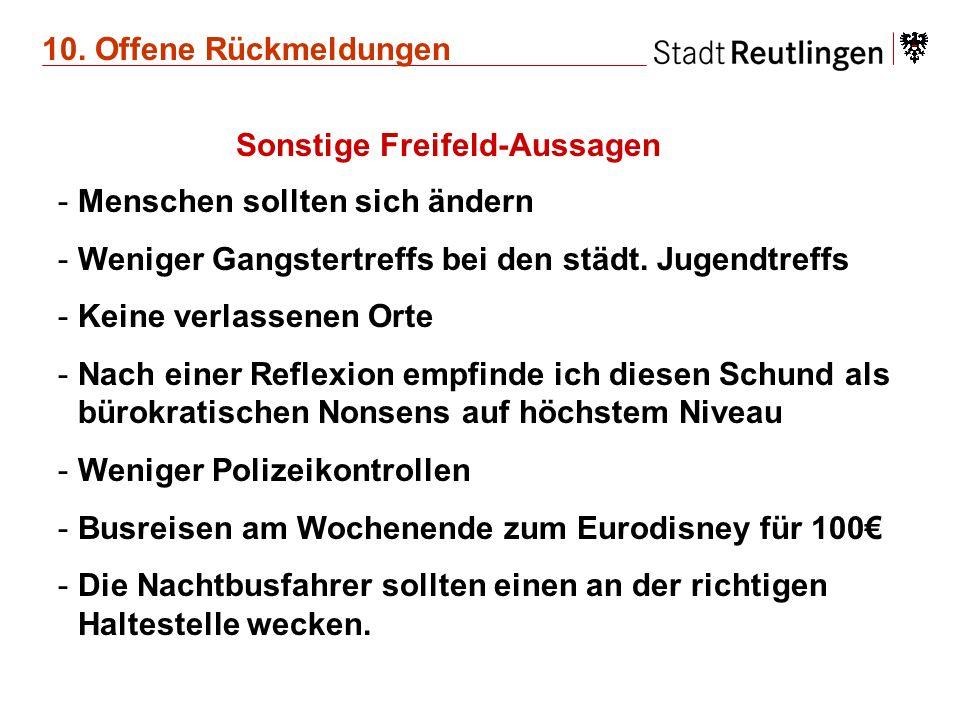 10. Offene Rückmeldungen Sonstige Freifeld-Aussagen -Menschen sollten sich ändern -Weniger Gangstertreffs bei den städt. Jugendtreffs -Keine verlassen