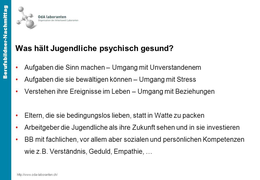 http://www.oda-laboranten.ch/ Berufsbildner-Nachmittag Was hält Jugendliche psychisch gesund.