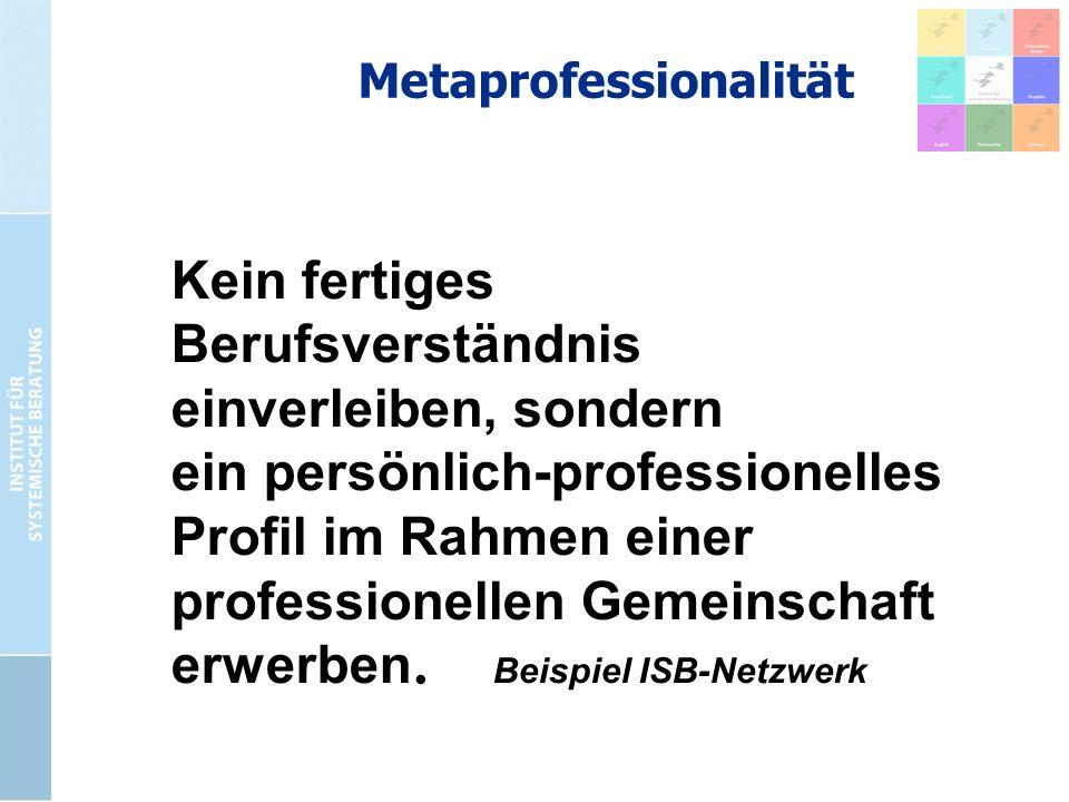Metaprofessionalität Kein fertiges Berufsverständnis einverleiben, sondern ein persönlich-professionelles Profil im Rahmen einer professionellen Gemei