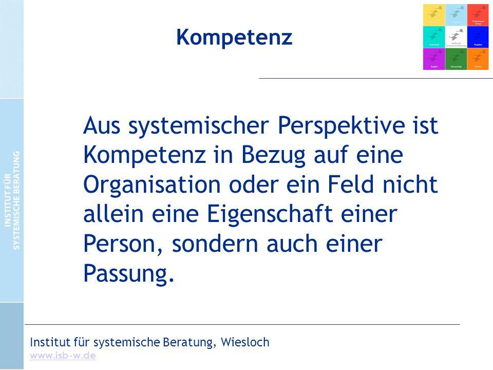 Kompetenz Aus systemischer Perspektive ist Kompetenz in Bezug auf eine Organisation oder ein Feld nicht allein eine Eigenschaft einer Person, sondern