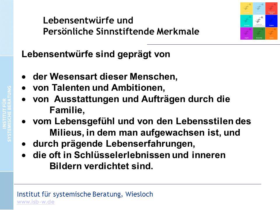 Institut für systemische Beratung, Wiesloch www.isb-w.de Lebensentwürfe sind geprägt von  der Wesensart dieser Menschen,  von Talenten und Ambitione