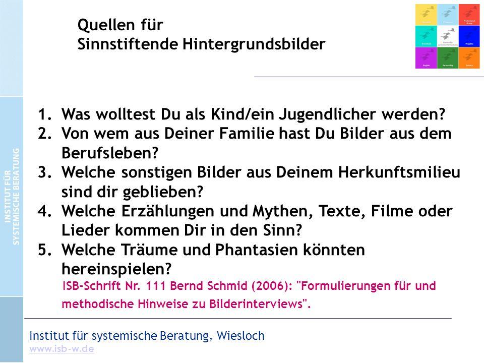 Institut für systemische Beratung, Wiesloch www.isb-w.de 1.Was wolltest Du als Kind/ein Jugendlicher werden? 2.Von wem aus Deiner Familie hast Du Bild