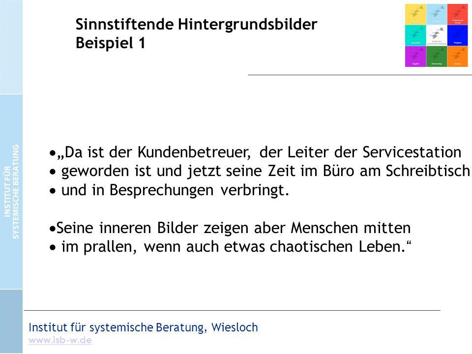 """Institut für systemische Beratung, Wiesloch www.isb-w.de Sinnstiftende Hintergrundsbilder Beispiel 1  """"Da ist der Kundenbetreuer, der Leiter der Serv"""