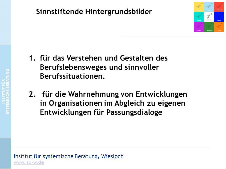 Institut für systemische Beratung, Wiesloch www.isb-w.de 1.für das Verstehen und Gestalten des Berufslebensweges und sinnvoller Berufssituationen. 2.