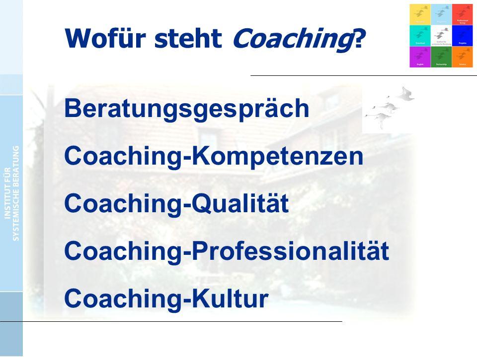 Beratungsgespräch Coaching-Kompetenzen Coaching-Qualität Coaching-Professionalität Coaching-Kultur Wofür steht Coaching?