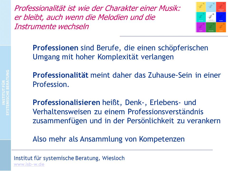 Professionalität ist wie der Charakter einer Musik: er bleibt, auch wenn die Melodien und die Instrumente wechseln Professionen sind Berufe, die einen