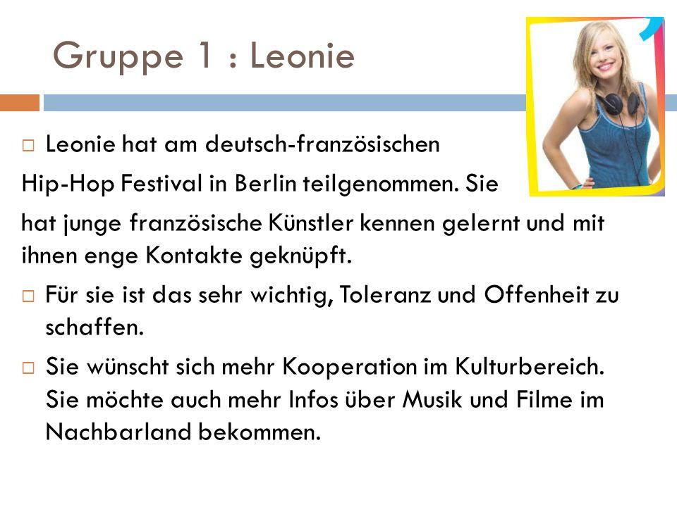 Gruppe 1 : Leonie  Leonie hat am deutsch-französischen Hip-Hop Festival in Berlin teilgenommen.
